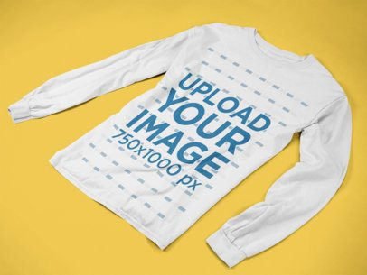 Longsleeve Tee Mockup Extended on a Flat Surface a15249