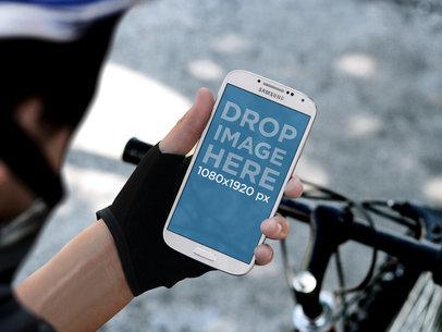 White Portrait Samsung Galaxy S4 Held By Biker