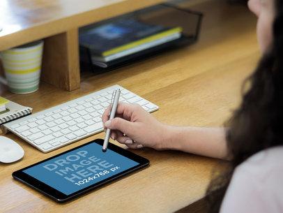 Landscape iPad Mini With Stylus Pen