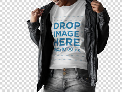 Woman Wearing a Round Neck T-Shirt Template and a Leather Jacket While Laughing a15464