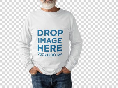 Senior Man Wearing a Long Sleeve Tshirt Mockup While Standing Cropped Faced Against a Transparent Surface a15509