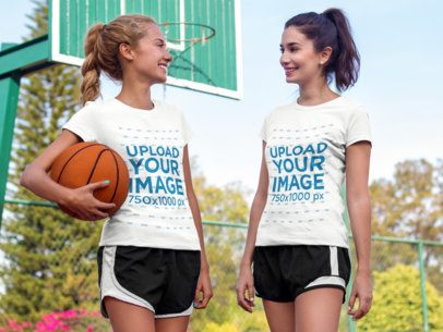 Pair of Girls Wearing Different T-Shirts Mockup While Hanging Out in a Basketball Court a15670