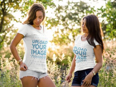 Two Girls Hanging Out Outdoors While Wearing Different Tees Mockup a15687