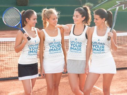 Group of Four Girlfriends Wearing Tank Tops Mockup with Different Designs While at a Tennis Court a15681