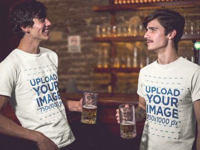 Template of Two Dudes Having a Beer at the Bar While Wearing Different Tshirts a15689