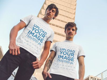 Two White Guys Wearing Different Round Neck Tees Mockup While Staring at the Camera a15690