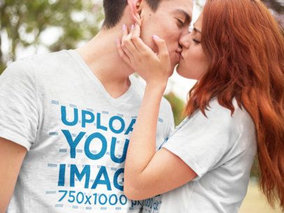 Young Romantic Couple Kissing While Wearing Different V-Neck T-Shirts Mockup a15734