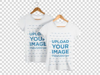 Two T-Shirts Mockup on Hangers Against a Transparent Backdrop a15758