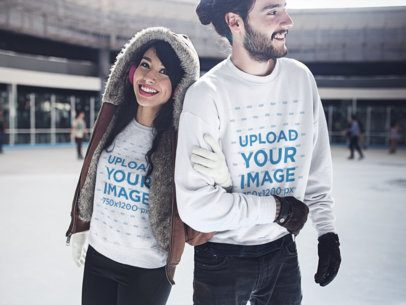 Young Couple Having Fun While at the Ice Skating Park Wearing Crewneck Sweatshirts Mockup a15805