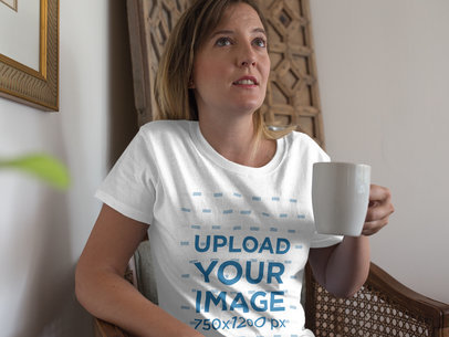Mockup of a Mom Wearing a Round Neck Tshirt Template While Drinking a Coffee a15774