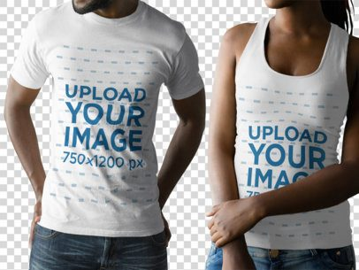 Couple with Cropped Faces Wearing a Round Neck Tee and a Tank Top Mockup While Against a Transparent Background a15792