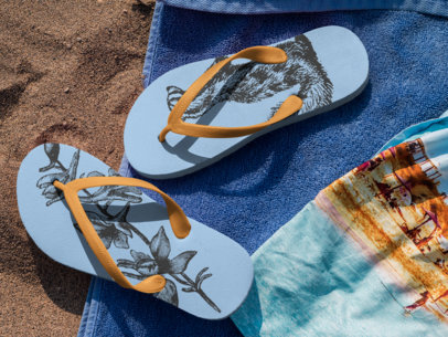 Two Flip Flops Mockup Lying Over a Towel at the Beach a15438
