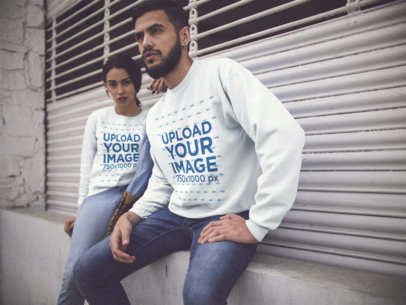 Hispanic Couple Hanging out in the City While Wearing Different Crewneck Sweatshirts Template a15799