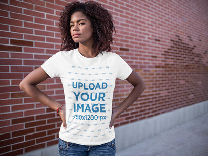 Young Black Girl Wearing a Round Neck Tee Mockup while Standing Near a School a15813