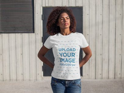 Black Girl with Curly Hair Wearing a Tshirt Template While Standing Facing the Sun a15838