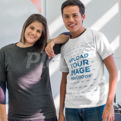 Young Guy Wearing a T-Shirt Mockup While at the School with his Friend a15648