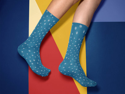 Two Legs Wearing Socks Template While Against a Multicolor Backdrop a15611