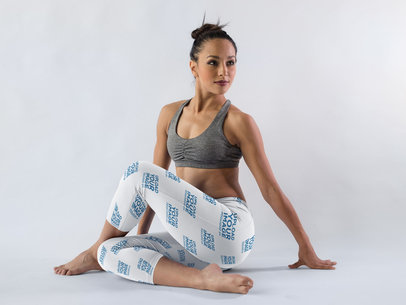 Hispanic Girl Wearing Leggings Template While in a Yoga Pose in a White Room a15402