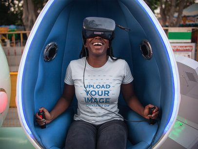 Black Girl with Dreadlocks Having Fun with a VR Wearing a Tshirt Mockup a15948