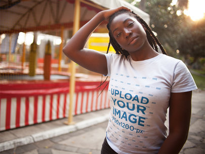 Pretty Black Girl with Dreadlocks Wearing a Round Neck Tshirt Mockup While Touching her Hair a15944