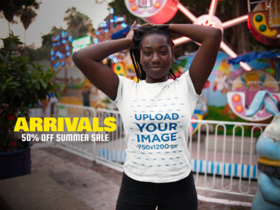 Facebook Ad - Happy Girl with Dreadlocks Wearing T-Shirt Mockup Near a Carousel a15959