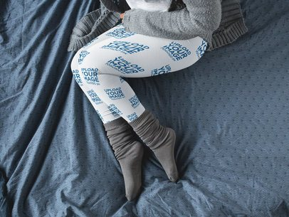 Leggings Mockup Being Worn by a Girl Lying Down on her Bed a15707
