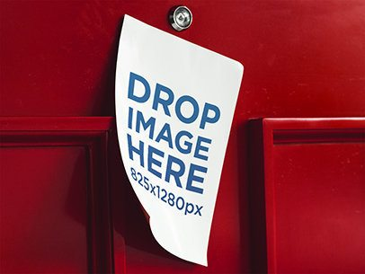 Mockup of a Flyer Taped to the Red Front Door of a House a6375