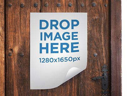Poster Mockup Featuring a Poster Taped to an Old Vintage Wooden Door a6370