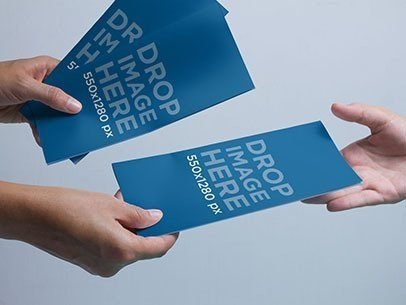 Brochure Mockup Featuring a Person Handing Out Brochures b6354