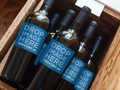 Label Mockup of a Set of Wine Bottles Stacked in a Wooden Container a6687