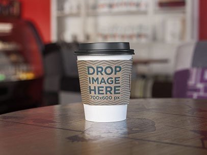 Takeaway Coffee Cup on Wooden Table Label Mockup a6682