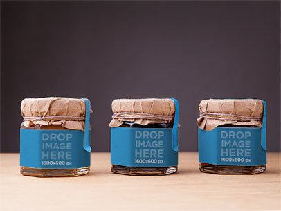Label Mockup Featuring a Set of 3 Small Honey Jars a6633
