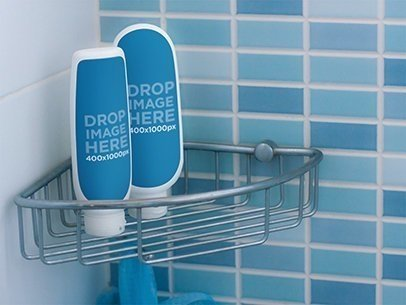 Label Mockup Featuring Two Shampoo Bottles in a Shower a7266