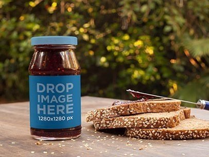 Jar of Marmalade Label Mockup with Fresh Bread a7264