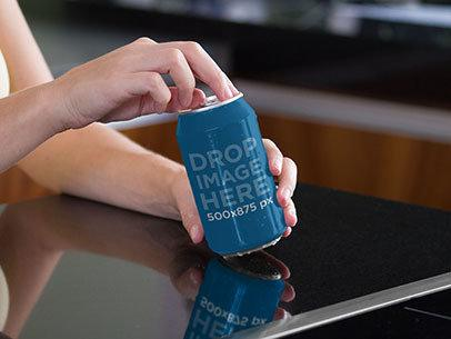 Label Mockup of a Woman Opening a Soda Can b7167