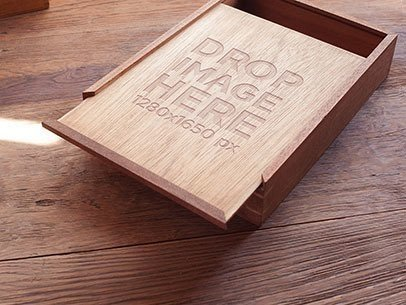 Branding Mockup Featuring a Wooden Box on Top of a Wooden Table a6947
