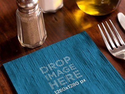 Branding Mockup Featuring a Napkin at a Restaurant Table a6854