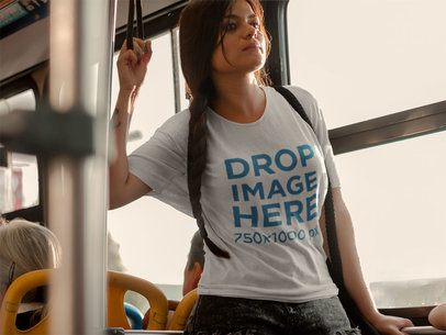 Woman in Bus Holding Onto a Handle Strap T-Shirt Mockup a5726