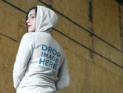 Hoodie Mockup of a Beautiful Woman at a Climbing Gym a8493