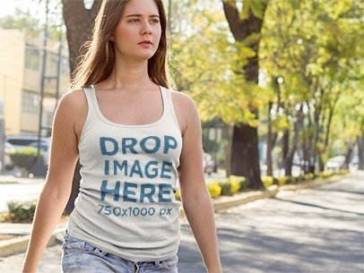 Young Woman Crossing the Street Tank Top Mockup a9002