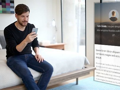 iPhone App Demo Video of a Man Sitting on a Bed 9113a