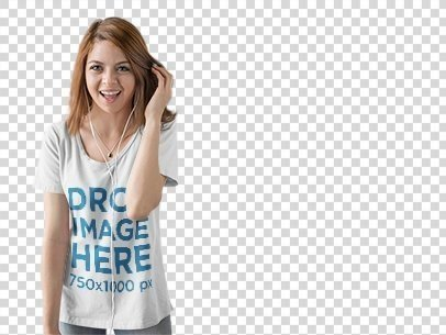 T-Shirt Mockup of a Young Woman Listening to Music a9844