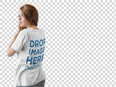 Back Shot of a Girl Wearing a T-Shirt Mockup Facing a Transparent Backdrop a9844b