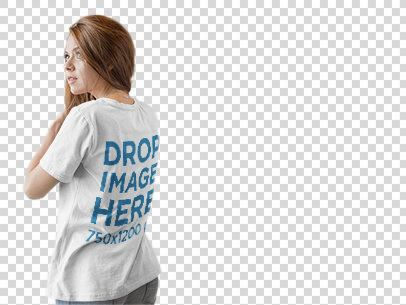 Back Shot of a Girl Wearing a T-Shirt Mockup Facing a Transparent Backdrop a9844b