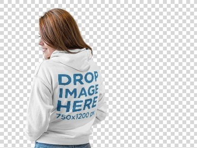 Back of a Girl Wearing a Pullover Hoodie Mockup at a Photo Studio a9847b