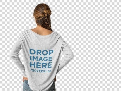 placeit back shot of a woman wearing a bella canvas long sleeve