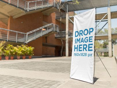 Banner Mockup at an Office Building Courtyard a10343