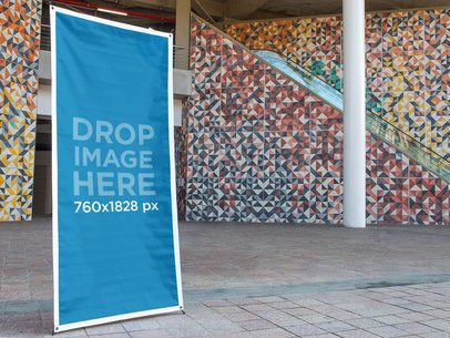 Vertical Banner Mockup at an Outdoor Mall a10337