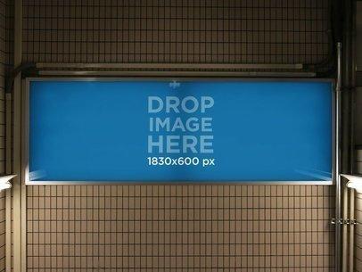 Horizontal Banner Mockup at a Subway Station a10462