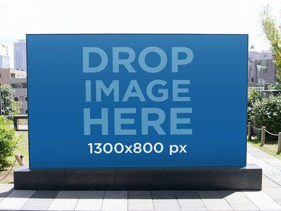 Big Horizontal Banner Mockup on a Sidewalk a10479